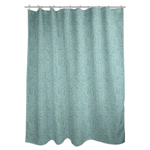 Shop Katelyn Elizabeth Blue With Green Ditsy Floral Pattern Shower Curtain