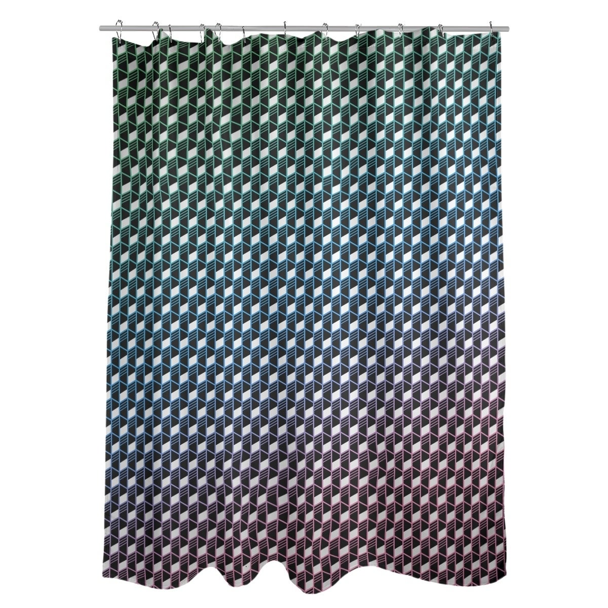 Katelyn Elizabeth Blue Green Pink Geometric Stripes Shower Curtain
