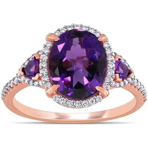Miadora 14k Rose Gold African-Amethyst and 1/4ct TDW Diamond 3-Stone Halo Ring