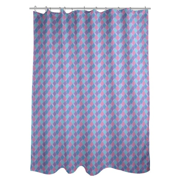 Shop Katelyn Elizabeth Purple Blue Retro Diamonds Shower Curtain