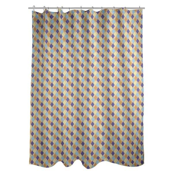 Shop Katelyn Elizabeth Orange Blue Retro Diamonds Shower Curtain