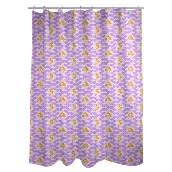 Shop Katelyn Elizabeth Purple Koi Fish Waves Pattern Shower Curtain
