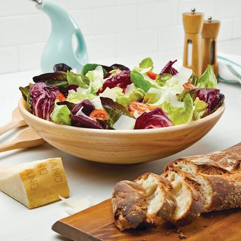 Rachael Ray Pantryware Parawood Salad Bowl, 14-Inch, Wood