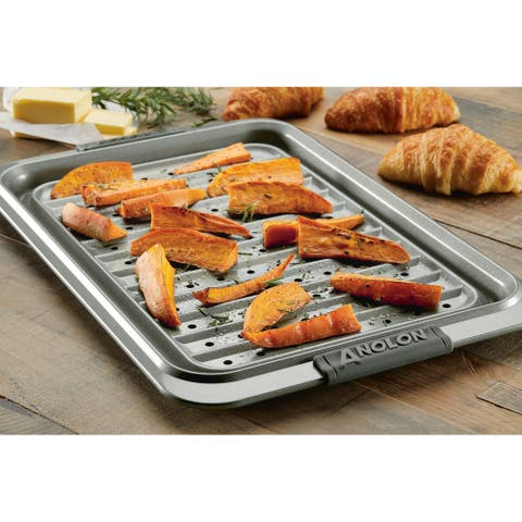 "Anolon Advanced Bakeware Two Piece 10"" x 15"" Crisper Pan Set, Graphite"