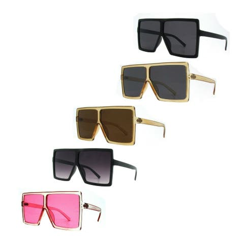 Aviator Oversized Square Flat Top Fashion Unisex Sunglasses