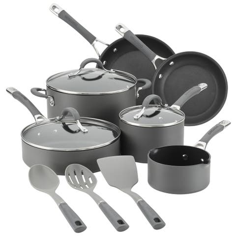 Circulon Radiance Hard-Anodized 9-Piece Cookware Set with Tools, Gray