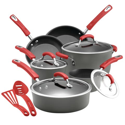 Rachael Ray Hard-Anodized 14-Piece Cookware Set, Gray with Red Handles