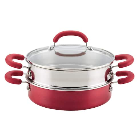 Rachael Ray Create Delicious Aluminum Nonstick Steam Set,Red Shimmer