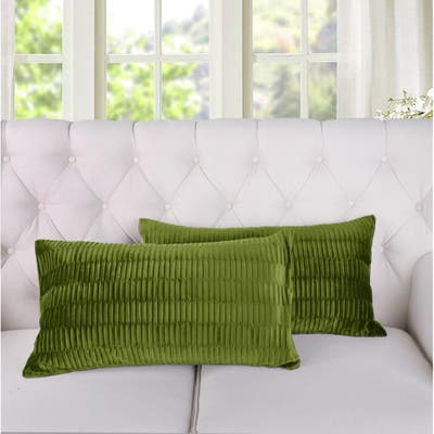 Porch & Den Agnew Pleated Velvet Decorative Throw Pillow Cover Set