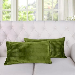 Porch & Den Agnew Pleated Velvet Decorative Throw Pillow Cover Set