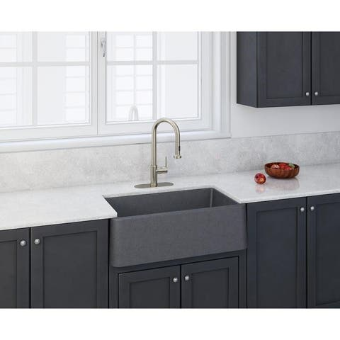 "Apron Kitchen Sink 30"" x 19"" in Titanium Grey Metallic"