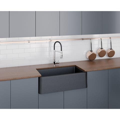 "Apron Kitchen Sink 33"" x 19"" in Black Metallic"