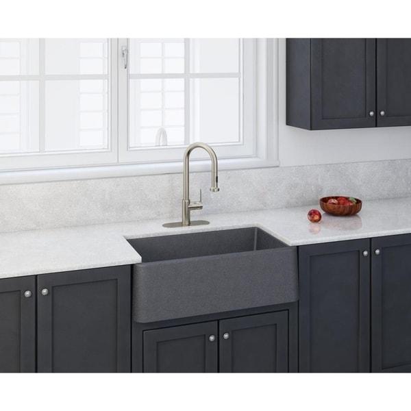 """Kitchen Sink 19 X 33: Shop Apron Kitchen Sink 33"""" X 19"""" In Titanium Grey"""