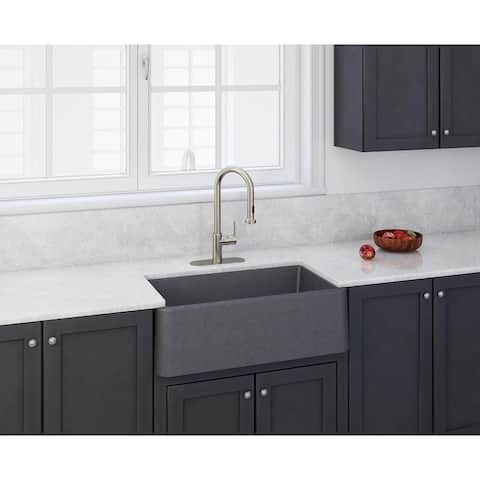 "Apron Kitchen Sink 33"" x 19"" in Titanium Grey Metallic"
