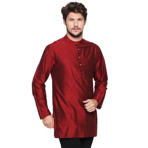 Shatranj Mens Band Collar Pure Cotton Kurta Tunic with Fine Embroidered Placket; Sky Blue; SM