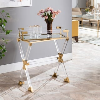 Silver Orchid Hinding Gold Accent Acrylic Serving Tray Table