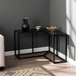 Strick & Bolton Loudon Black Iron/ Glass Corner End Table