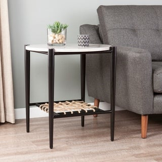 Link to Holly & Martin Raleigh White Faux Marble End Table w/ Woven Hemp Shelf Similar Items in Living Room Furniture