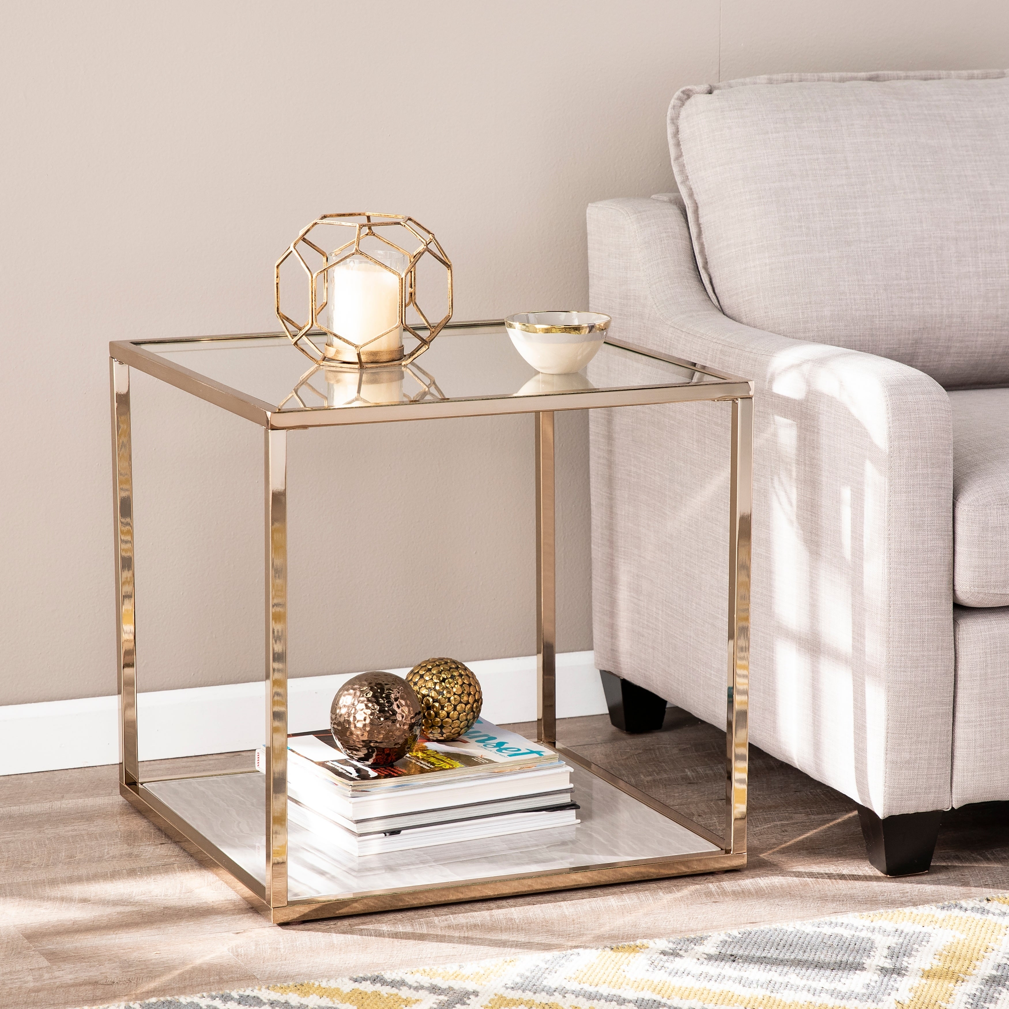 Silver Orchid Hinding Champagne Bronze Faux Marble Glass End Table Overstock 27339443