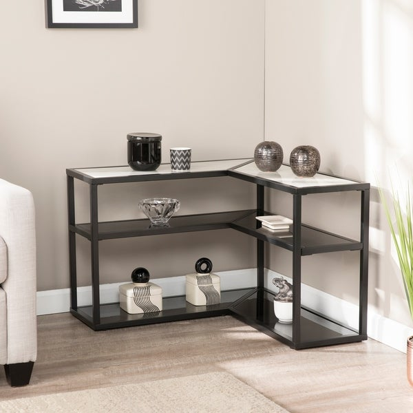 Strick & Bolton Tabor Faux-marble Corner Console Table