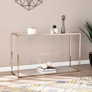 Silver Orchid Hinding Grey Faux Marble Console Table