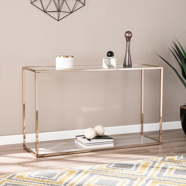 Shop Silver Orchid Hinding Grey Faux Marble Console Table