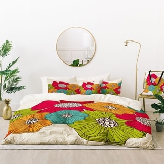 Deny Designs Bold Flowers Duvet Cover Set (5 Piece Set)