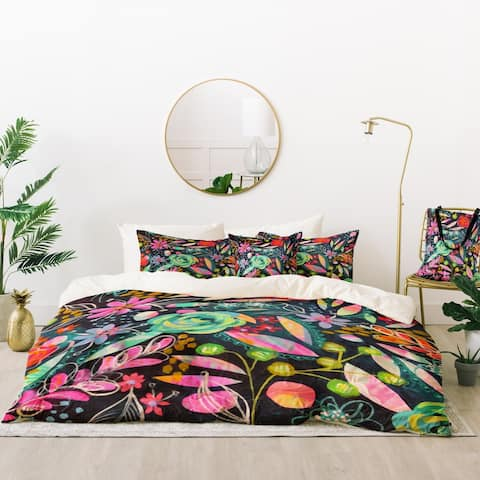 Deny Designs Black Floral Stencil Duvet Cover Set (5 Piece Set)