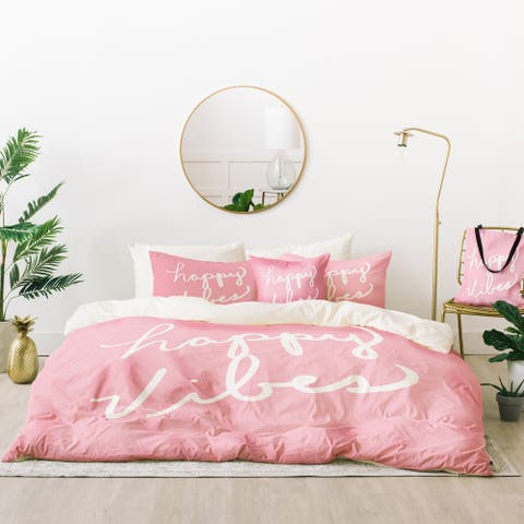 Deny Designs Happy Vibes Blush Duvet Cover Set (5 Piece Set)