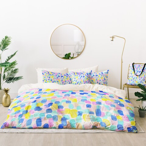 Deny Designs Abstract Pastel Dots Duvet Cover Set (5 Piece Set)
