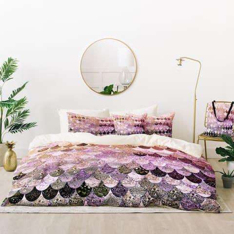 Deny Designs Mermaid Scales Purple Duvet Cover Set (5 Piece Set)