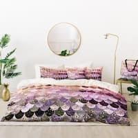 Deny Designs Mermaid Scales Purple Duvet Cover Set (5 Piece Set)
