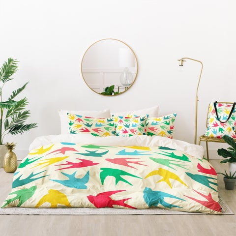 Deny Designs Birds Multicolor Duvet Cover Set (5 Piece Set)
