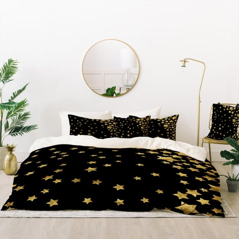 Deny Designs Starry Night Black Duvet Cover Set (5 Piece Set)