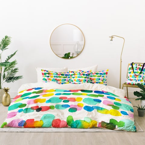 Deny Designs Watercolor Dots Duvet Cover Set (5 Piece Set)