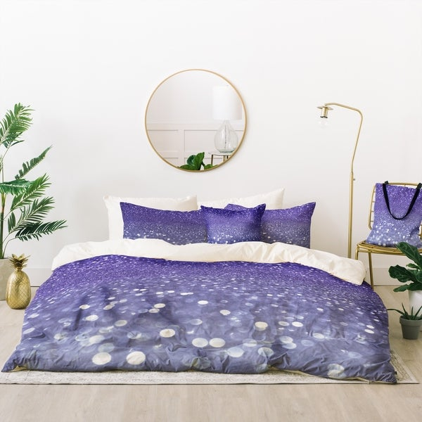 Deny Designs Violet Sparkle Duvet Cover Set (5 Piece Set)