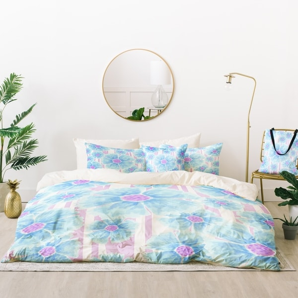 Deny Designs Blue Spring Flowers Duvet Cover Set (5 Piece Set)