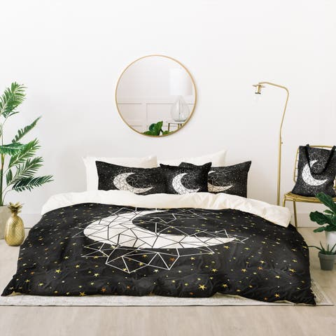 Deny Designs Geometric Moon Duvet Cover Set (5 Piece Set)