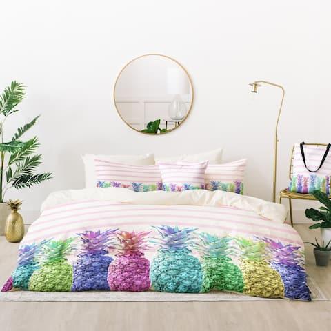 Deny Designs Pineapples and Stripes Duvet Cover Set (5 Piece Set)