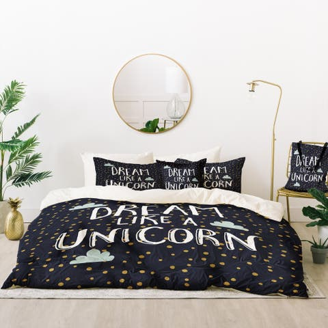 Deny Designs Dream Like A Unicorn Duvet Cover Set (5 Piece Set)