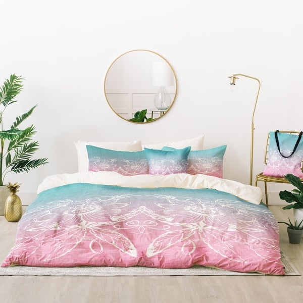 Deny Designs Moroccan Linework Rose Duvet Cover Set (5 Piece Set)