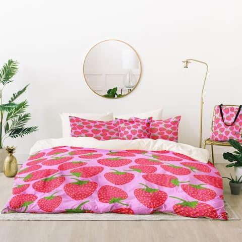 Deny Designs Strawberry in Lavender Duvet Cover Set (5 Piece Set)