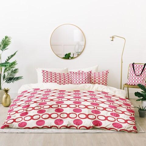 Deny Designs Retro Pink and White Dots Duvet Cover Set (5 Piece Set)
