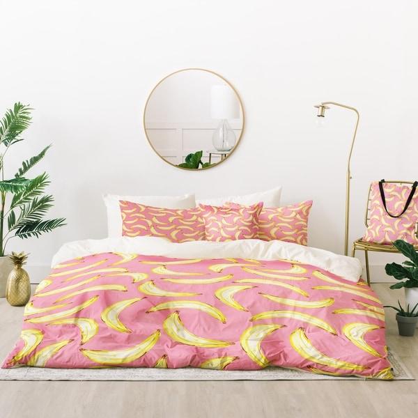 Deny Designs Bananas in Pink Duvet Cover Set (5 Piece Set)