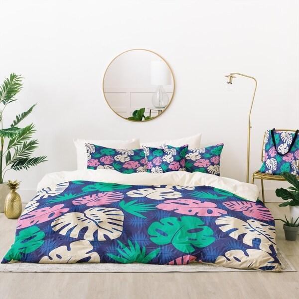 Deny Designs Tropical Floral Leaves Duvet Cover Set (5 Piece Set)