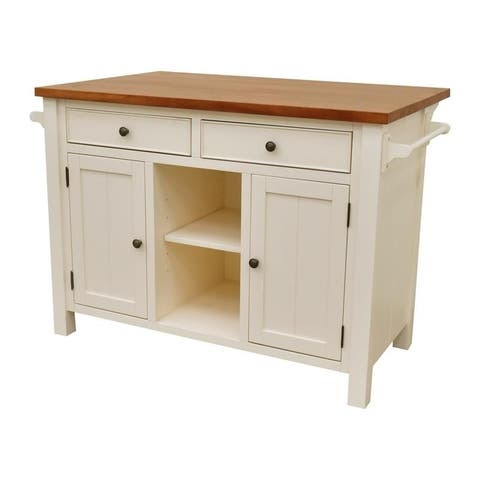 222 Fifth Atlantic White Kitchen Island (With overhang)