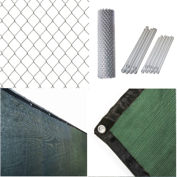 ALEKO Galvanized Steel Chain Link Fence 5X50 ft Complete Kit with Fence Screen