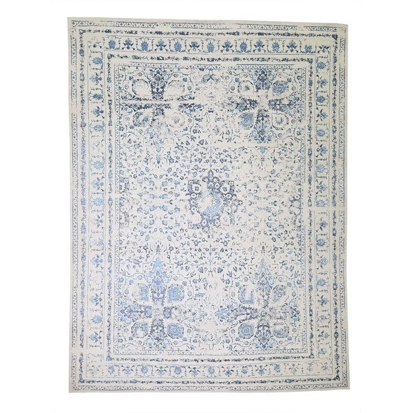 "Shahbanu Rugs Modern Broken Design Kashan Wool and Silk Hand Knotted Oriental Rug (9'0"" x 12'1"") - 9'0"" x 12'1"""