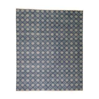 "Shahbanu Rugs Modern Tone on Tone Pure Wool Hand Knotted Oriental Rug (8'0"" x 9'8"") - 8'0"" x 9'8"""