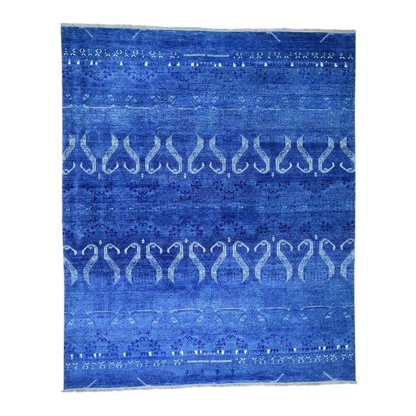 "Shahbanu Rugs Modern Tone on Tone Art Silk Hand Knotted Oriental Rug (8'1"" x 9'8"") - 8'1"" x 9'8"""